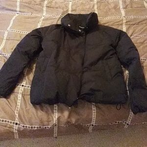 Fold over collar puffer coat